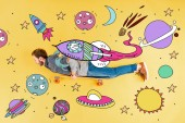 Fotografie top view of man with longboard lying on yellow background with space illustration