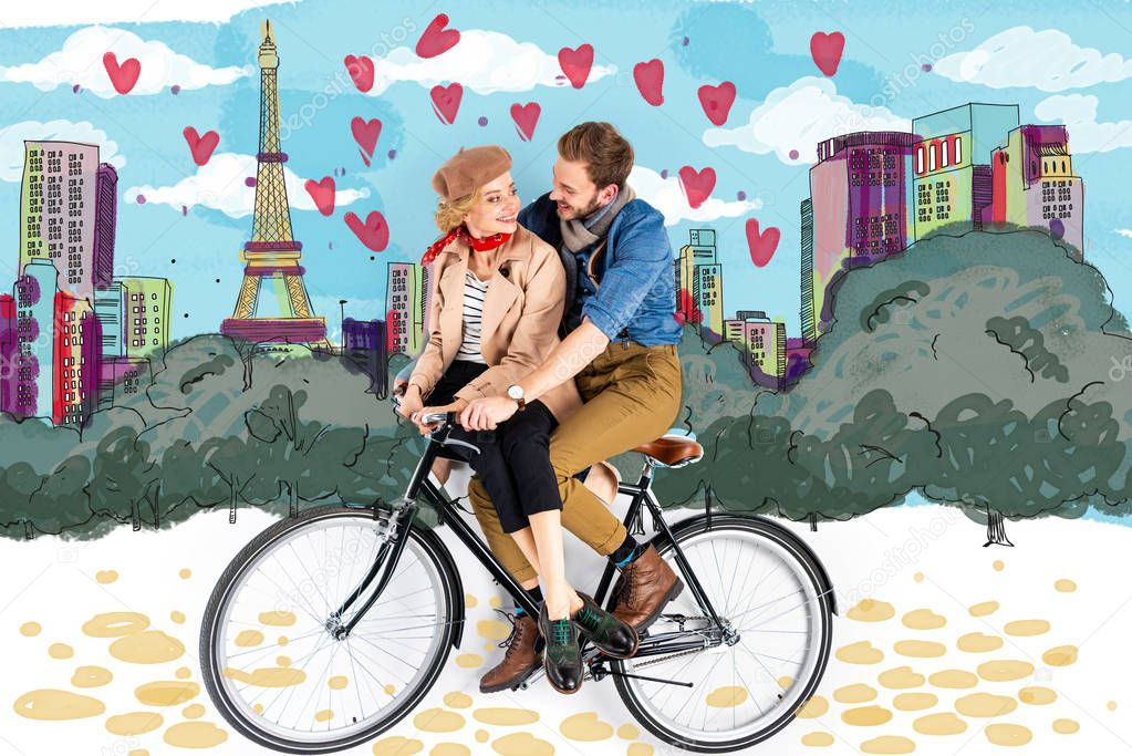 Happy elegant couple riding bike together with Paris illustration on background stock vector