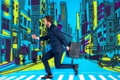 Fotografie handsome businessman in suit crossing road with briefcase