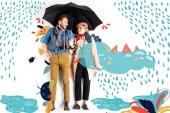 glückliches elegantes Paar, das bei Regen und Wolken zusammen unter einem Regenschirm steht