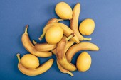 Top view of ripe and yellow bananas and lemons on blue background