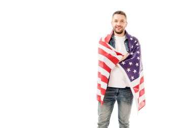 Front view of smiling bearded man holding american flag isolated on white stock vector