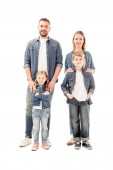 full length view of happy smiling family in jeans isolated on white