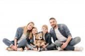 boldog család farmer a mackó izolált fehér