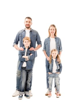 Full length view of happy smiling family in jeans isolated on white stock vector