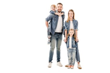 Full length view of happy family in jeans smiling isolated on white stock vector