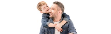 Panoramic shot of smiling boy embracing father isolated on white stock vector