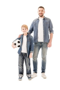 Full length view of son and dad with soccer ball isolated on white stock vector