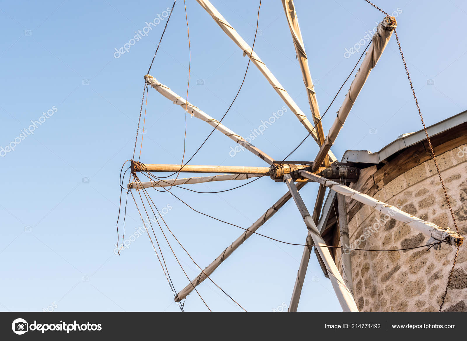 Close Detailed View Ancient Stone Windmill Clean Blue Sky Background