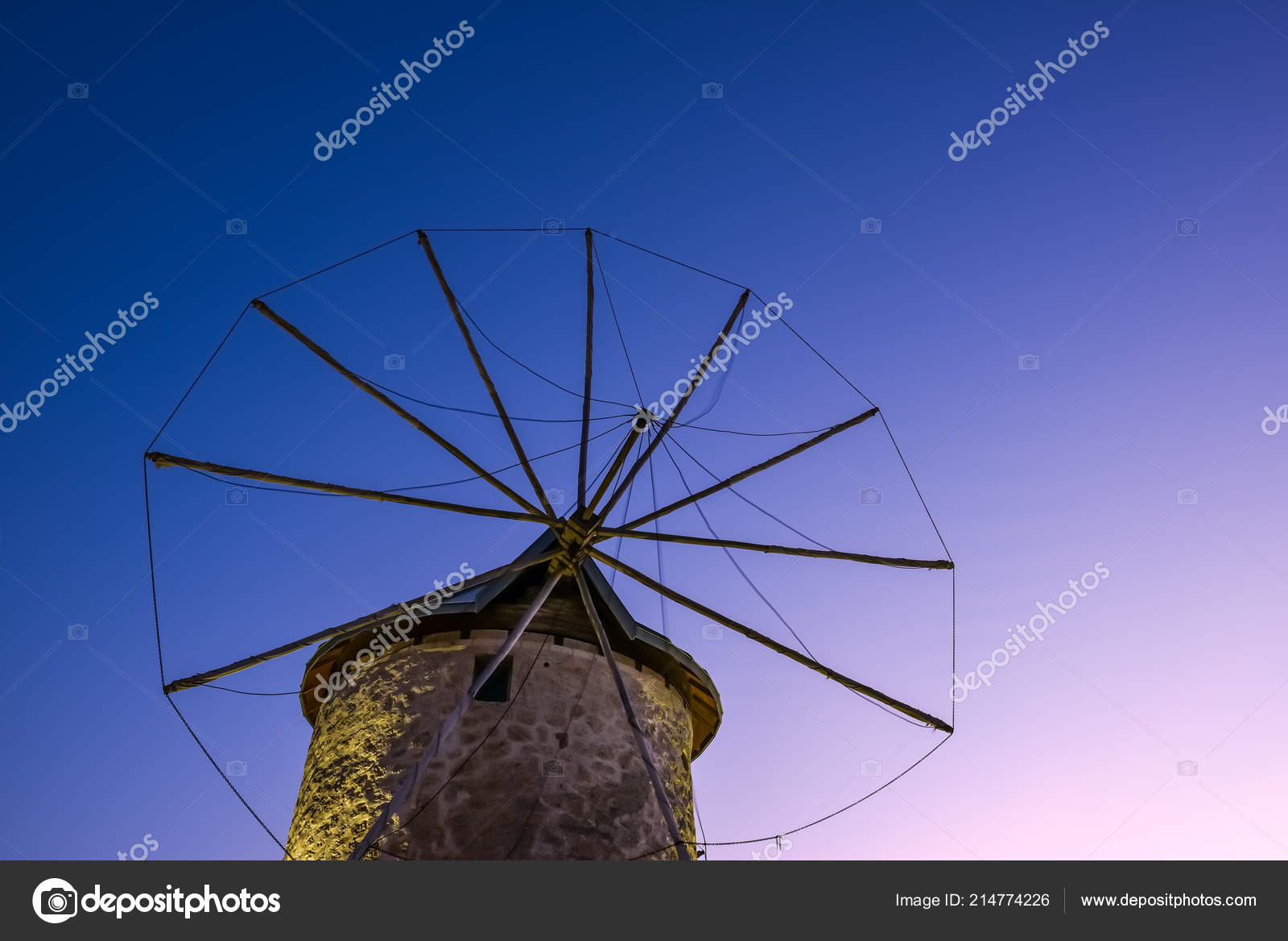Close Detailed Night View Ancient Stone Windmill Clean Blue Sky