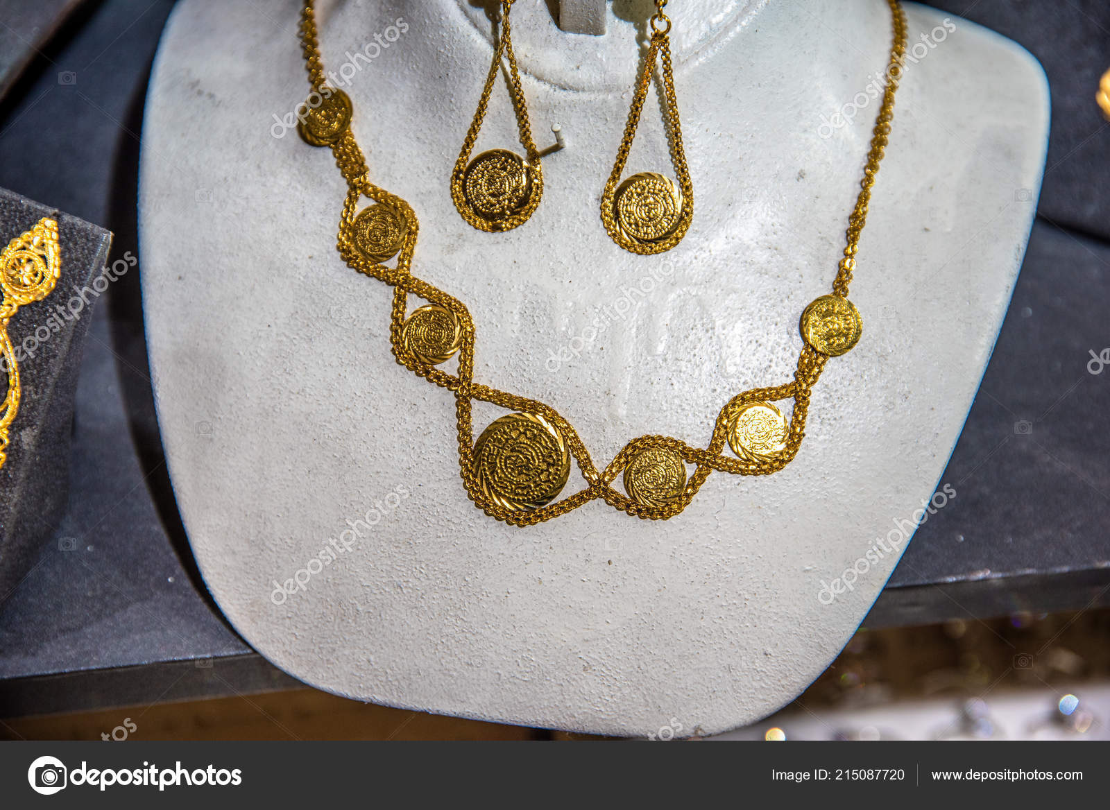 Turkish Gold Necklaces Sale Stall Grand Bazaar Istanbul