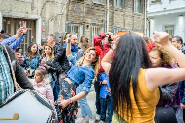 Unidentified people celebrate Hidirellez Festival.It means arrival of spring and celebrated throughout the Turkic world.Istanbul,Turkey.05 May 2018
