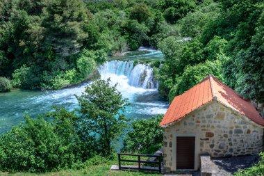 """Картина, постер, плакат, фотообои """"panoramic aerial view of waterfall in krka national park, one of the croatian national parks in sibenik, croatia ."""", артикул 216087186"""