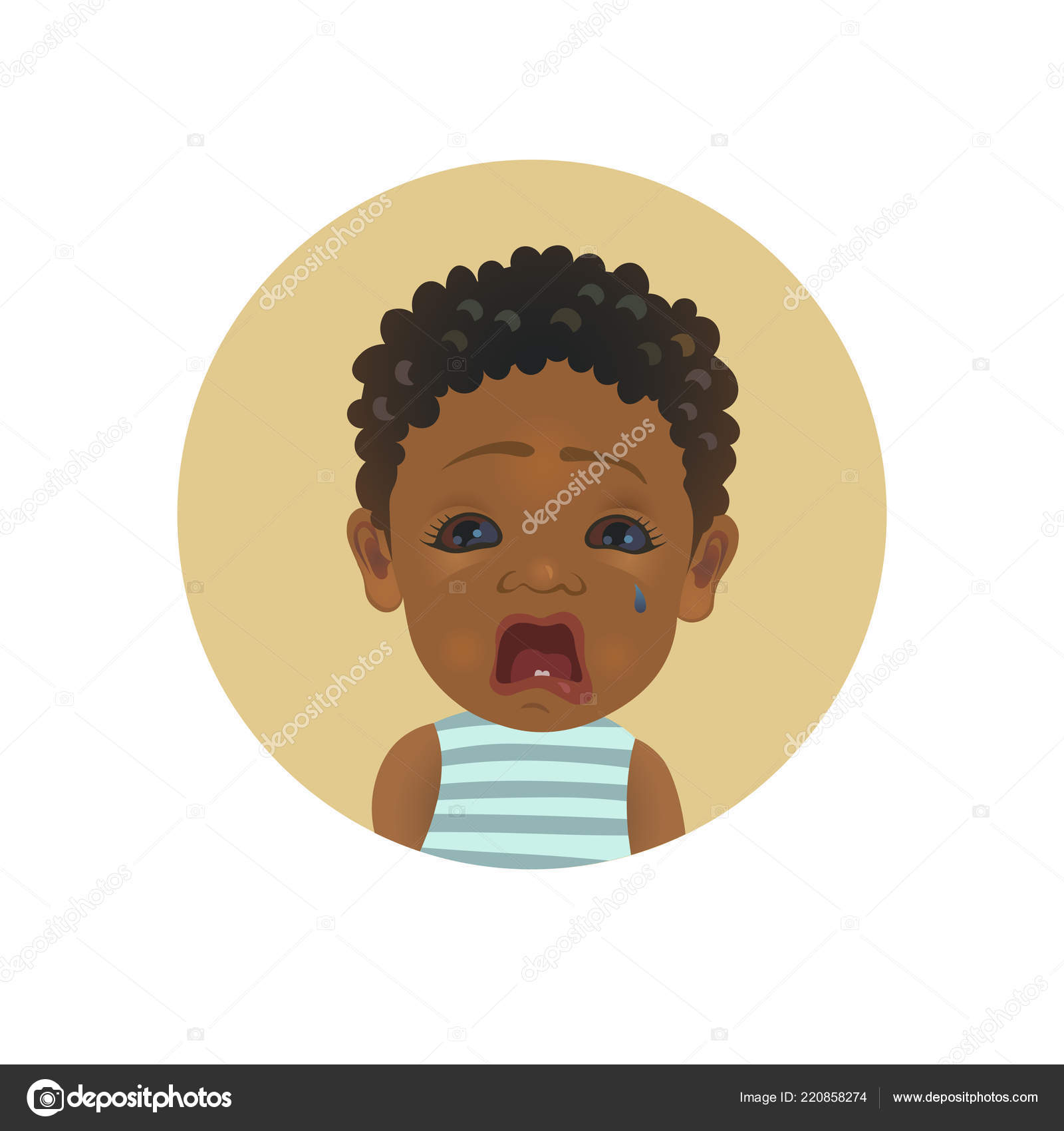 Cute Afro American crying baby emoticon. Tearful African