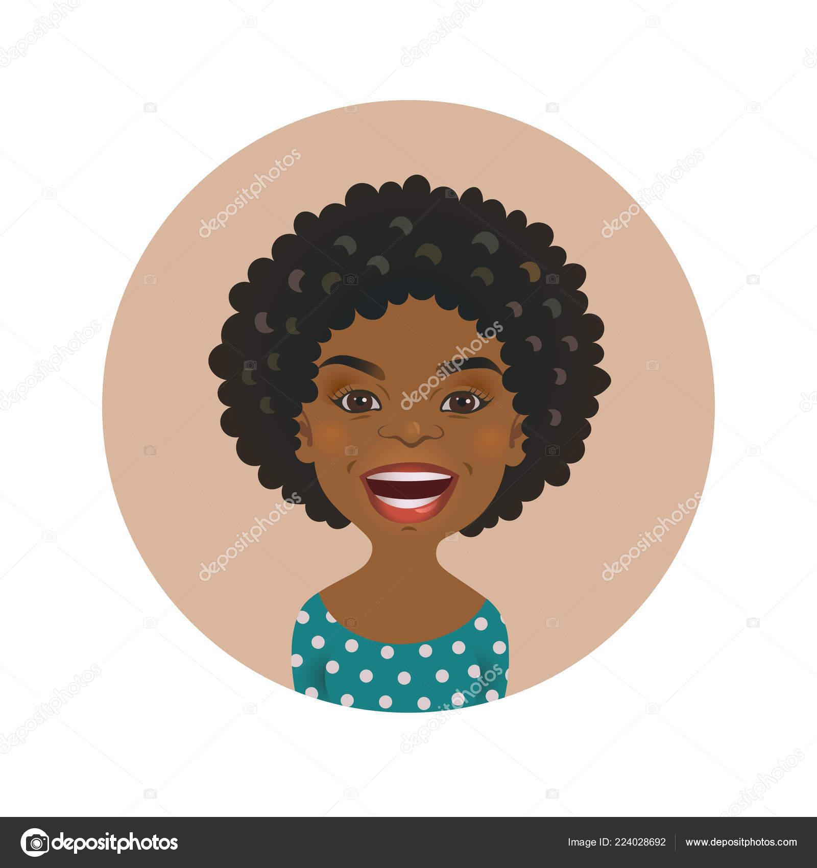 85705c564 Avatar de garota africana sorridente. Pessoa alegre de pele negra. Pele  escura rosto sorridente do modelo dos desenhos animados isolado de  ilustração ...