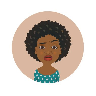 Cute squeamish Afro American woman avatar. Overcritical African girl emoji.  Skeptical dark-skinned person facial expression.
