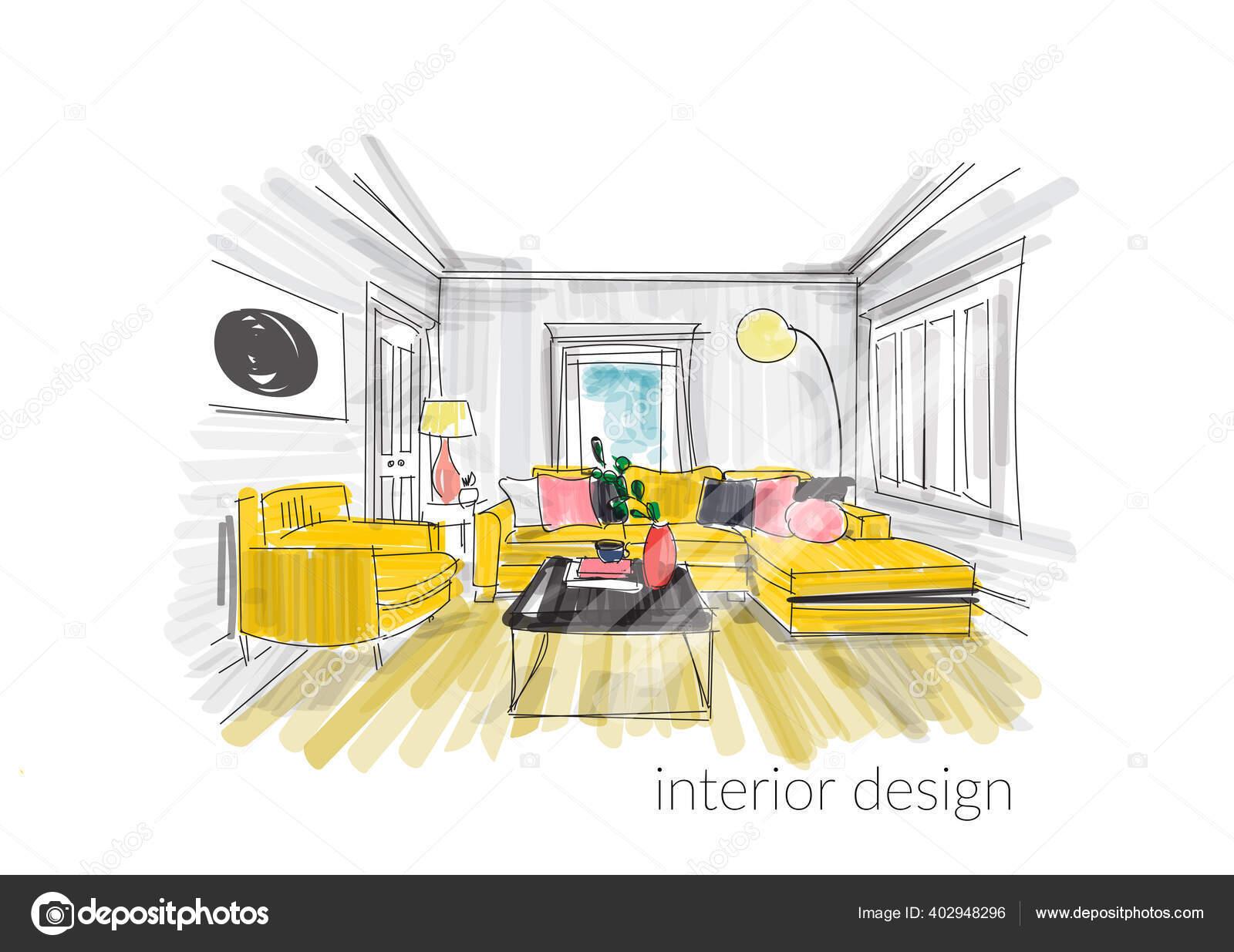 Vektor Interior Desain Tangan Digambar Ilustrasi Sketsa Furnitur Ruang Tamu Stok Vektor C Joanna Rosado Gmail Com 402948296