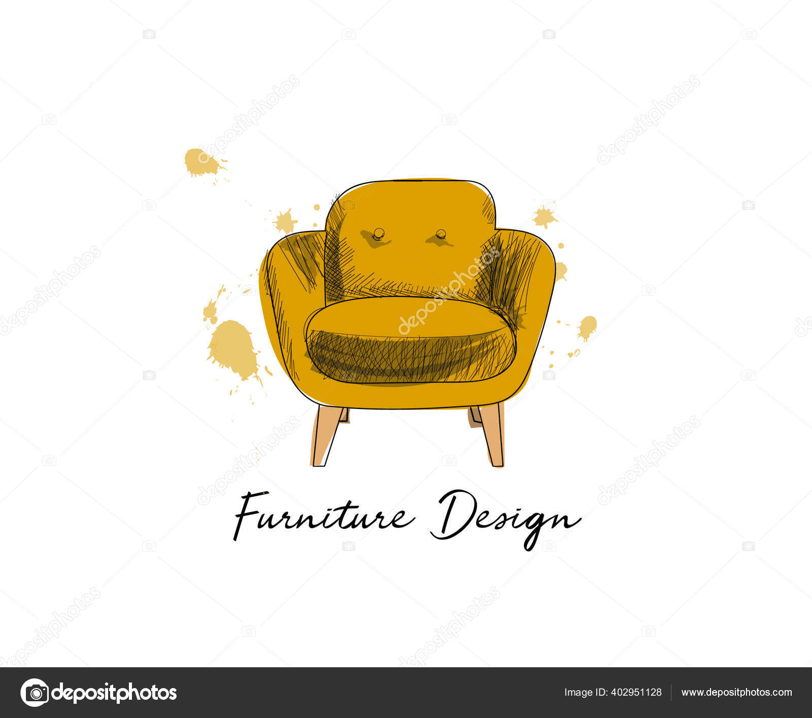 Armchair Sketch Hand Drawn Chair Vector Furniture Illustration Mid Century Vector Image By Joanna Rosado Gmail Com Vector Stock 402951128