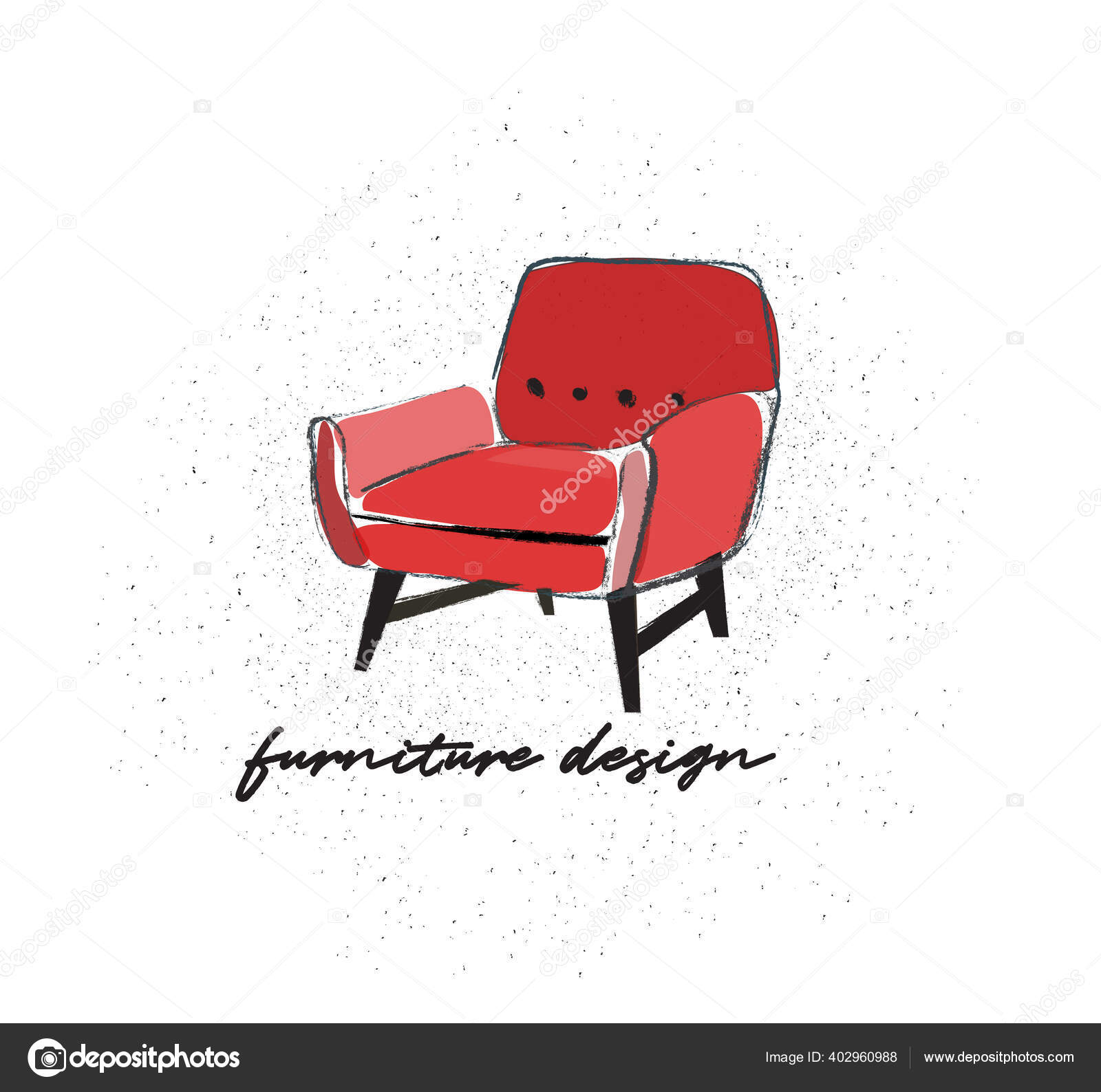 Watercolor Armchair Hand Drawn Chair Vector Furniture Illustration Mid Century Vector Image By Joanna Rosado Gmail Com Vector Stock 402960988