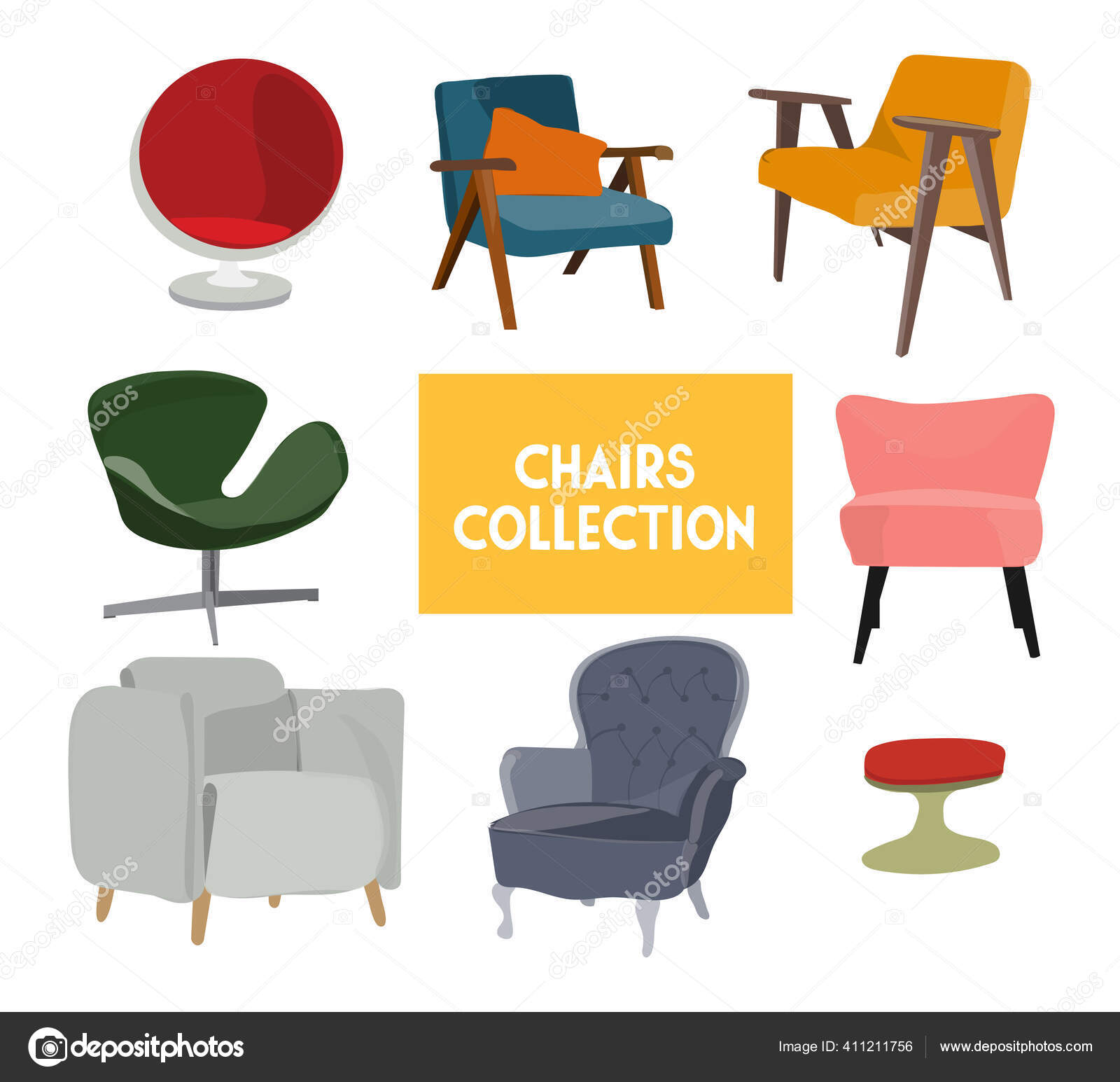 Vector Chair Collection Illustration Furniture Element Set Modern Contemporary Home Vector Image By Joanna Rosado Gmail Com Vector Stock 411211756