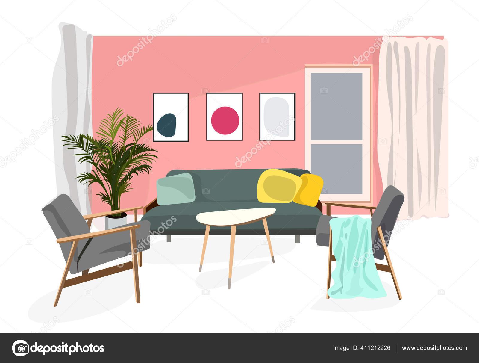 Vector interior design illustration. home house decor decoration. furniture  living room lounge. sofa armchair table coffee lamp cushion plant vase. ...