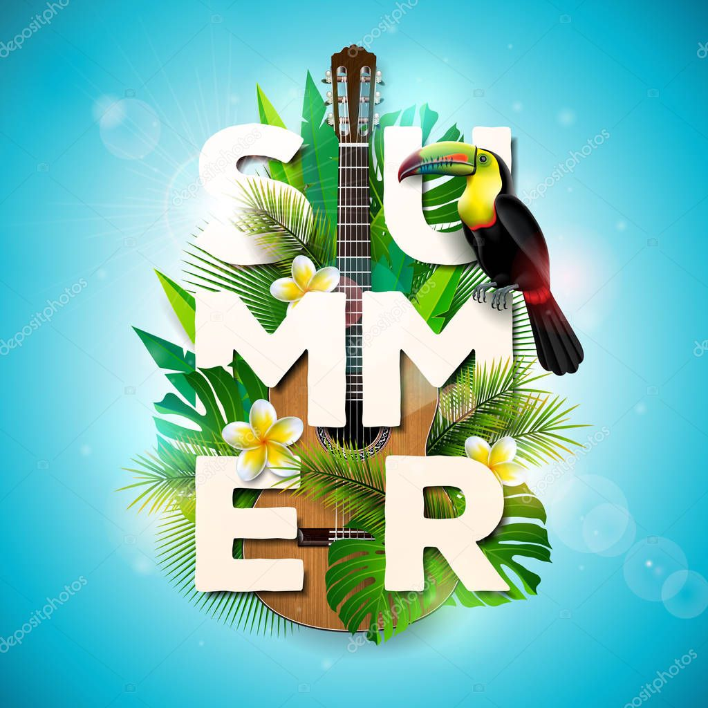 Vector Summer Holiday typographic illustration with toucan bird, acoustic guitar and flower on tropical plants background. Design template with green palm leaf for banner, flyer, invitation, brochure