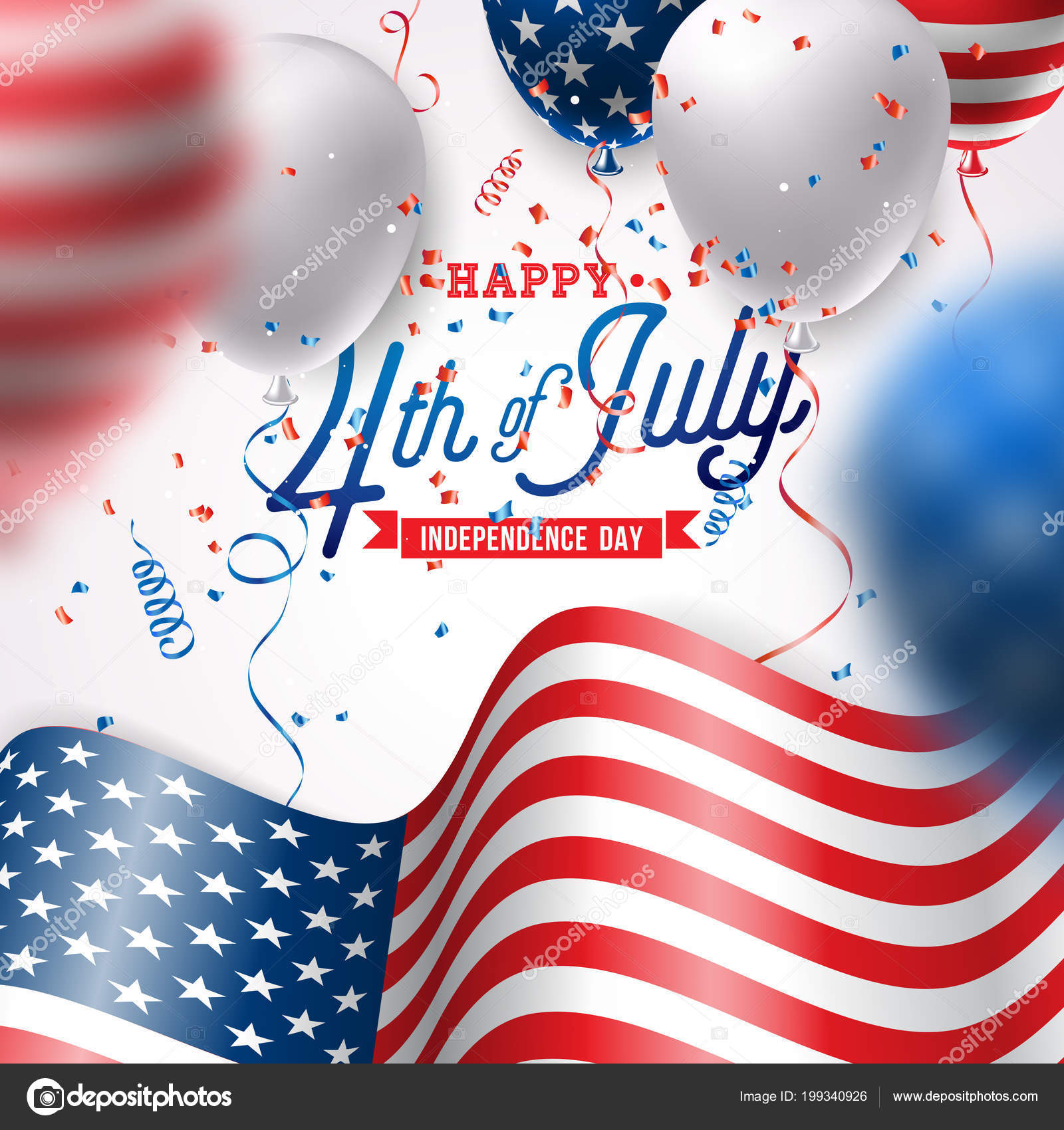 943dedb7649 Independence Day of the USA Vector Illustration. Fourth of July Design with  Air Balloon and Flag on White Background for Banner