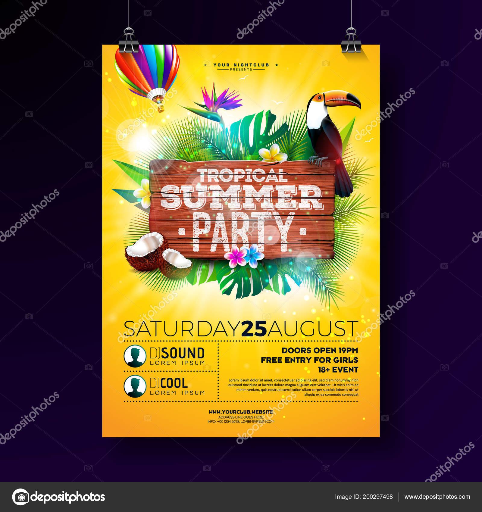 Vector Summer Beach Party Flyer Design mit typografischen Elementen ...