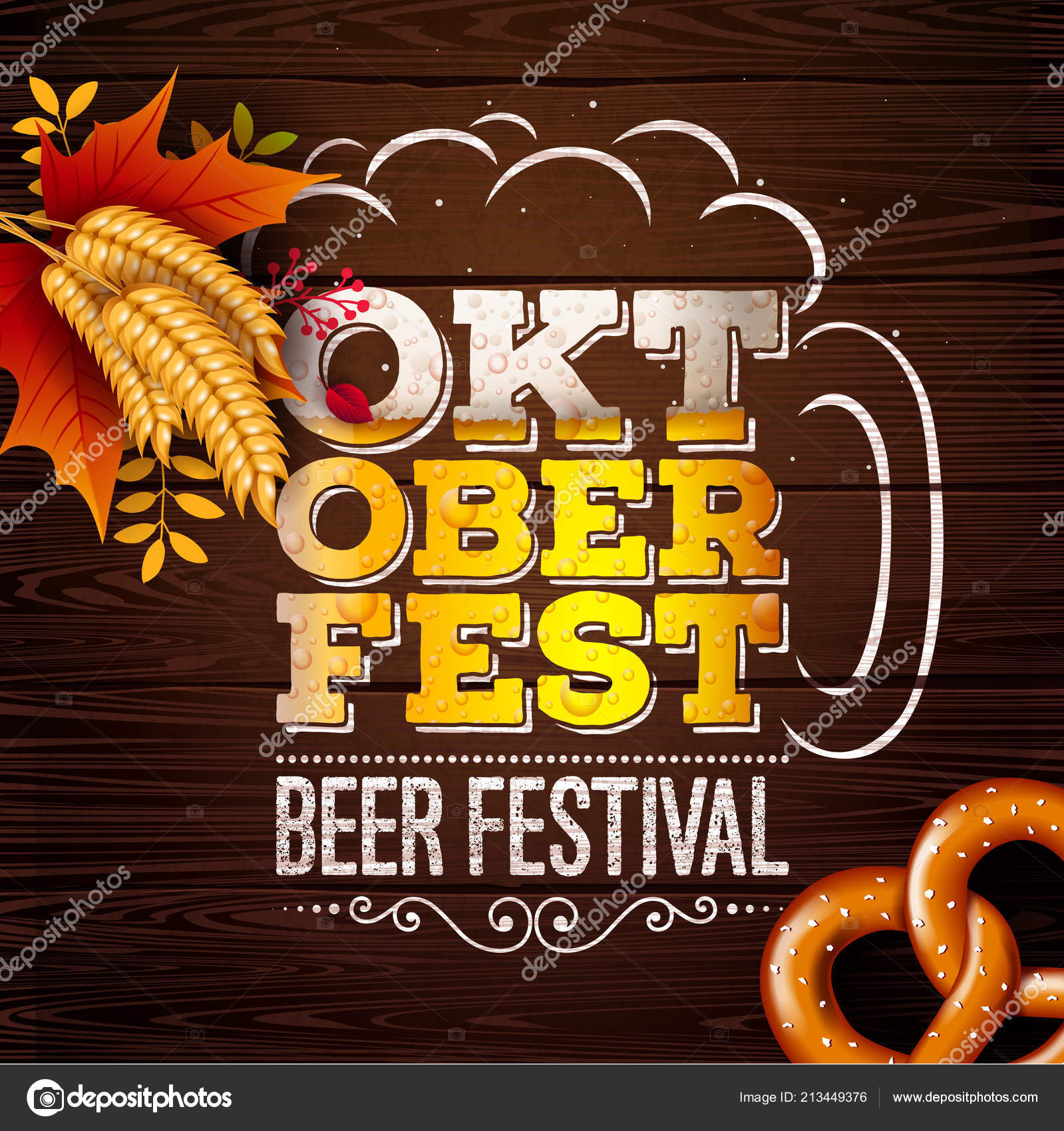 Oktoberfest Banner Illustration with Fresh Beer in Typography