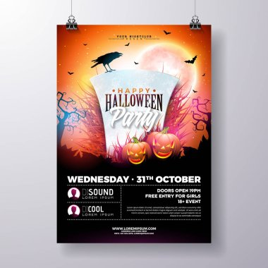 Halloween Party flyer vector illustration with tombstone and pumpkins on mysterious red background. Holiday design template with crow and fliyng bats for party invitation, greeting card, banner or