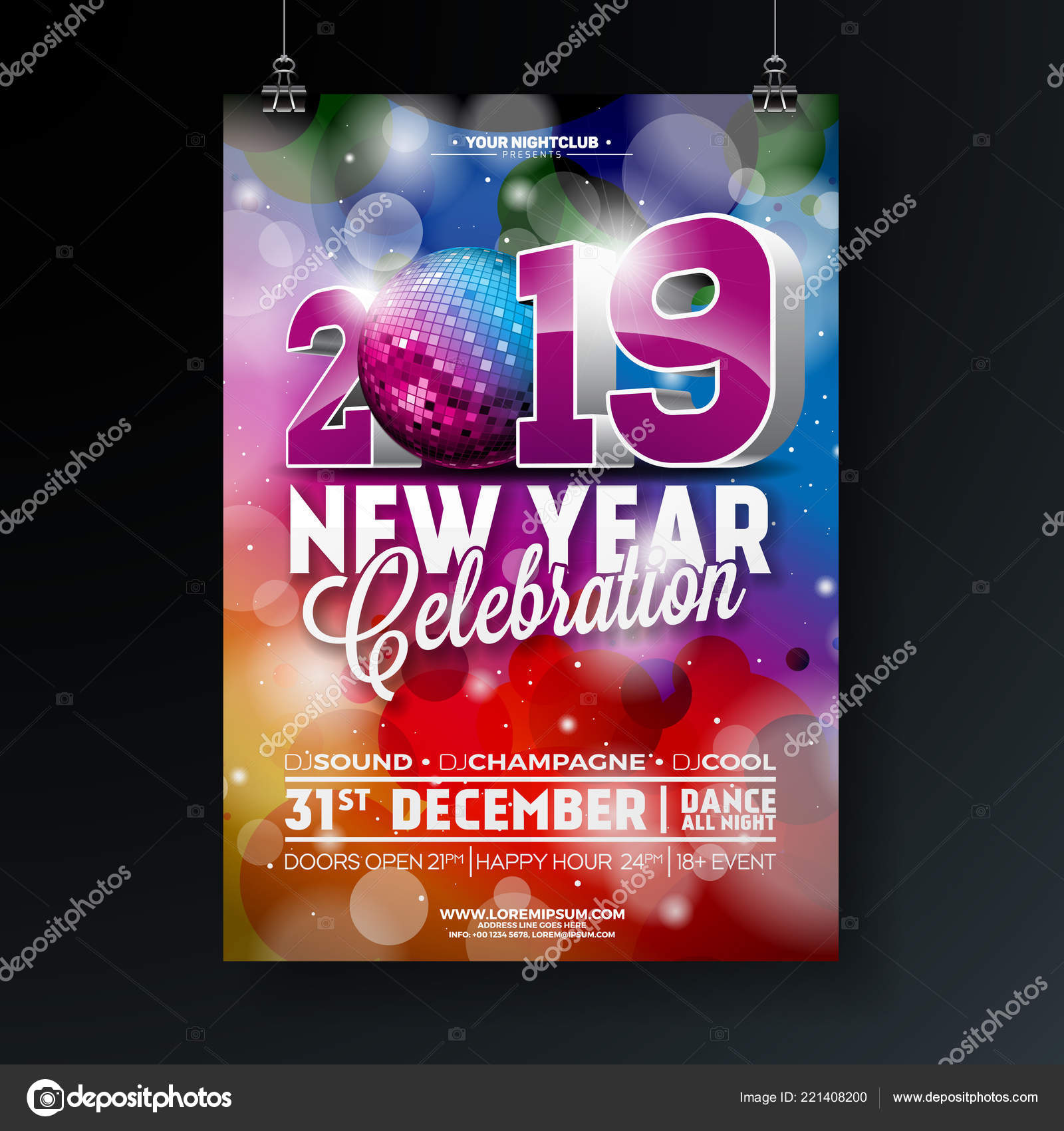 new year party celebration poster template illustration with 3d 2019 number and disco ball on shiny