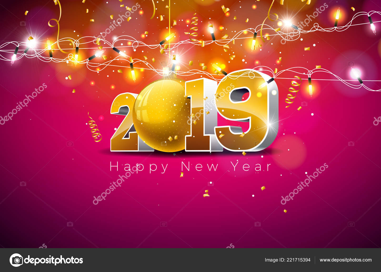 2019 Happy New Year Illustration With 3d Gold Number Christmas Ball