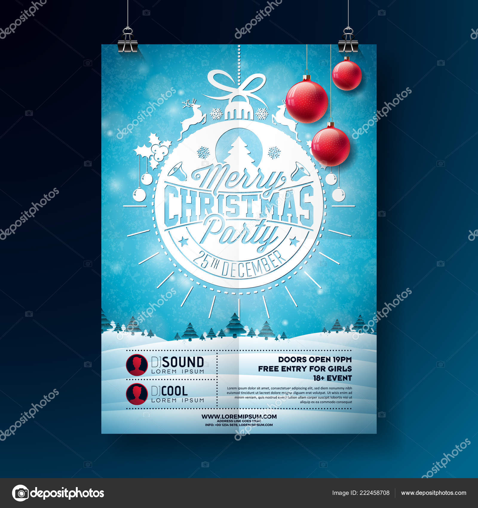 Christmas Party Flyer.Christmas Party Flyer Illustration With Typography Lettering