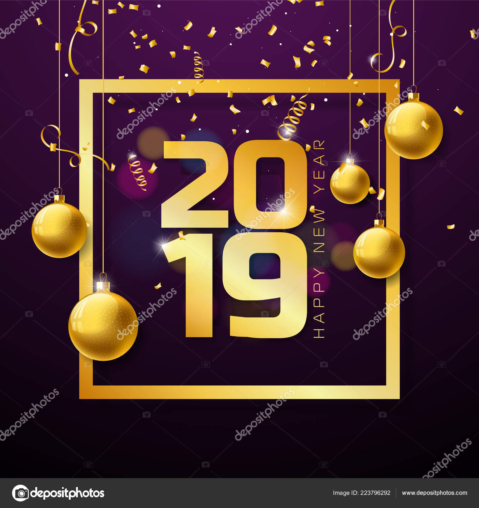 2019 happy new year illustration with gold number and christmas ball on violet background vector holiday design for flyer greeting card banner