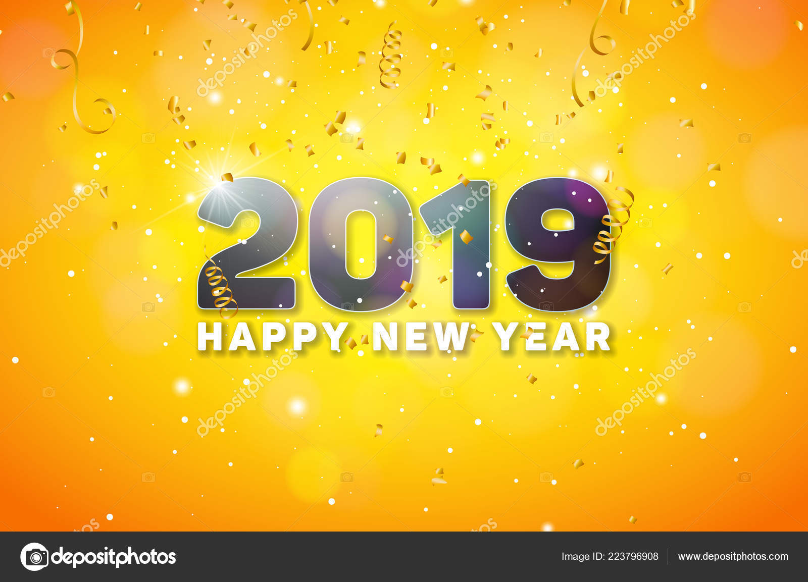 happy new year 2019 illustration with 3d number on shiny yellow background vector holiday design