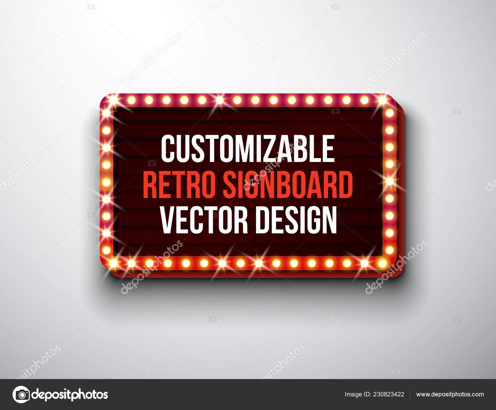 Vector Retro Signboard Or Lightbox Illustration With Customizable Design On Clean Background Light Banner Or Vintage Bright Billboard For Advertising Or Your Project Show Night Events Cinema Or Stock Vector C