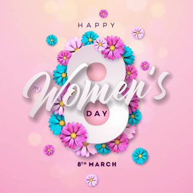 8 March. Happy Womens Day Floral Greeting card. International Holiday Illustration with Flower Design on Pink Background. Vector Spring Celebration Template.