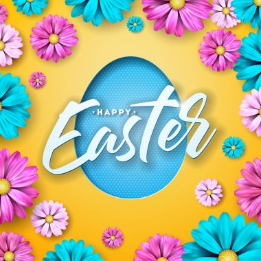 Happy Easter Design with Colorful Flower and Paper Cutting Egg Symbol on Shiny Yellow Background. Vector International Holiday Celebration Illustration with Typography for Greeting Card, Party