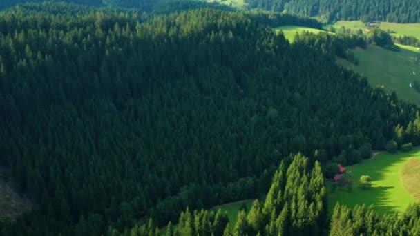 Luftaufnahme über die Berge in Velke karlovice beskydy tschechisch, dieser Clip ist in zwei verschiedenen Abstufungen, 10bit Farbe oder dji Farbe lut