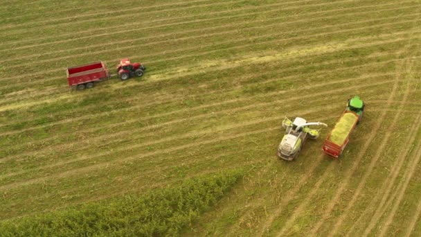 Tractors And Farm Machines Harvesting Corn In Czech , Aerial Shot