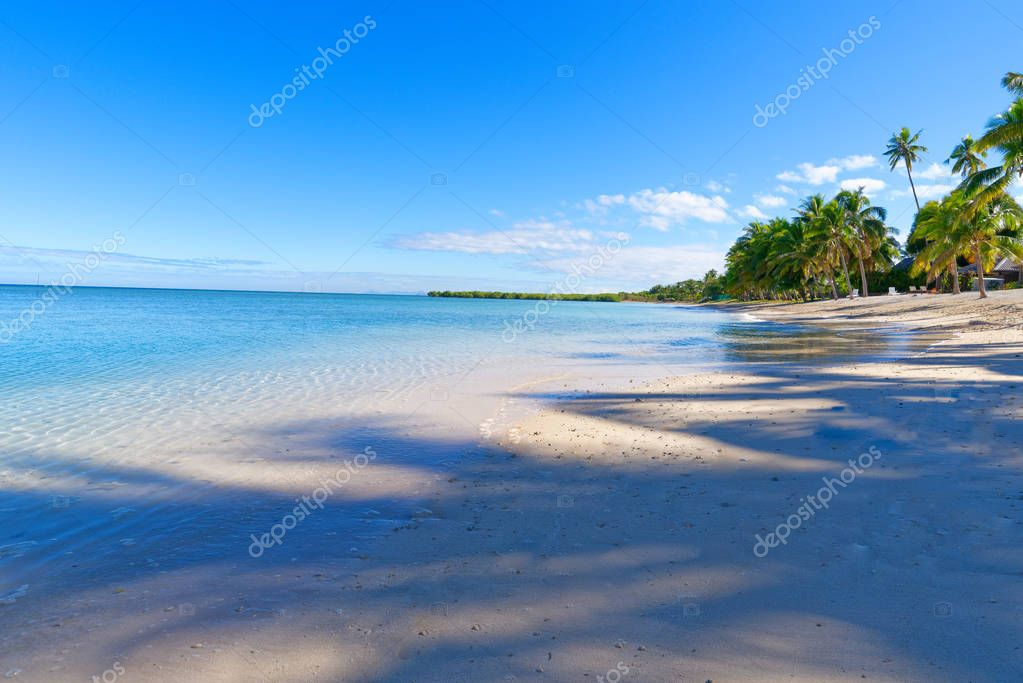 Small island off the coast of Fiji with a white sand beach