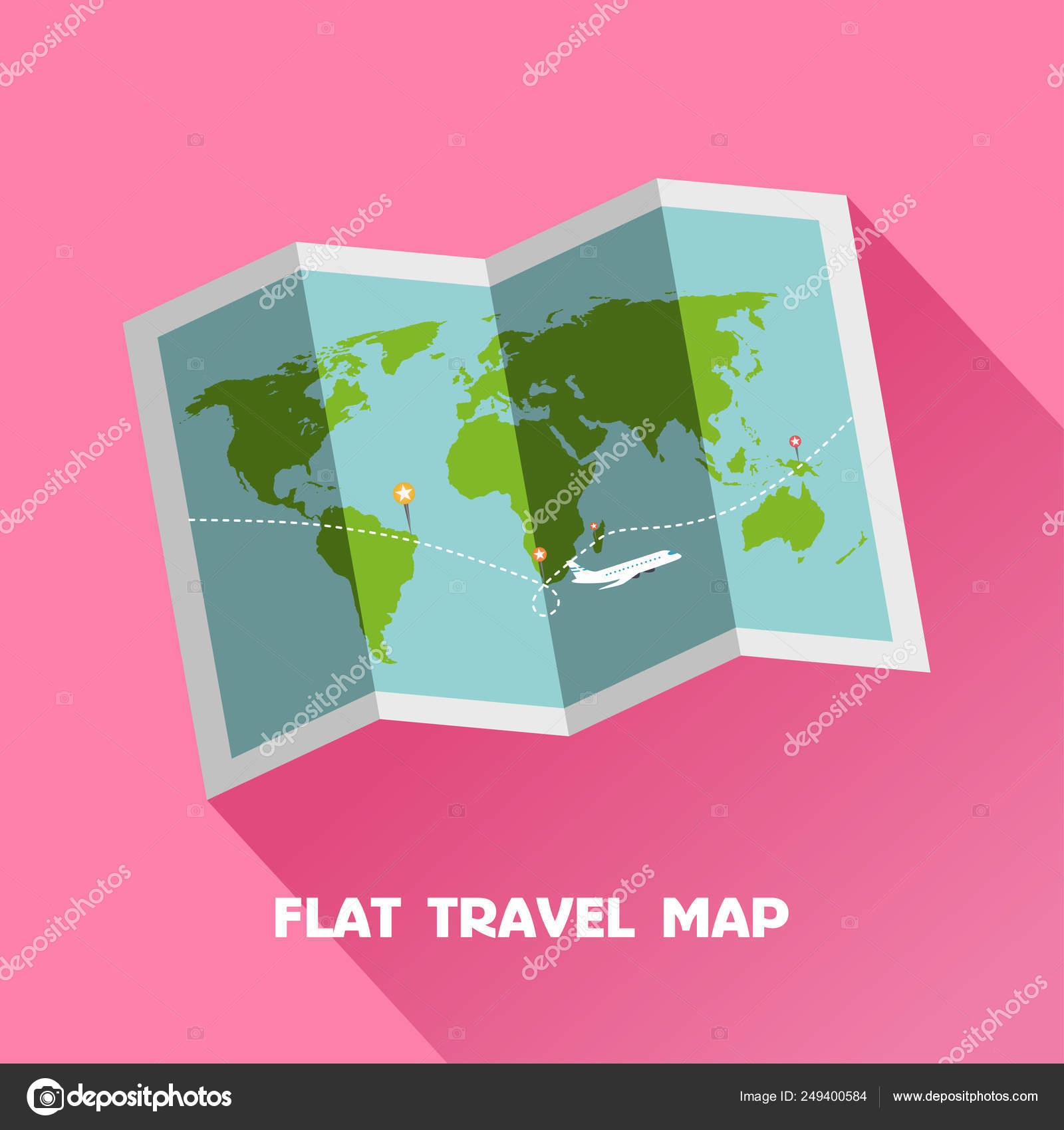 Simple Flat World Travel Map Vector Illustration Paper World