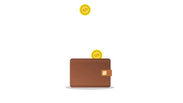 Golden dollar coins falling into a brown leather wallet. Trendy flat style motion design animation on isolated white background.