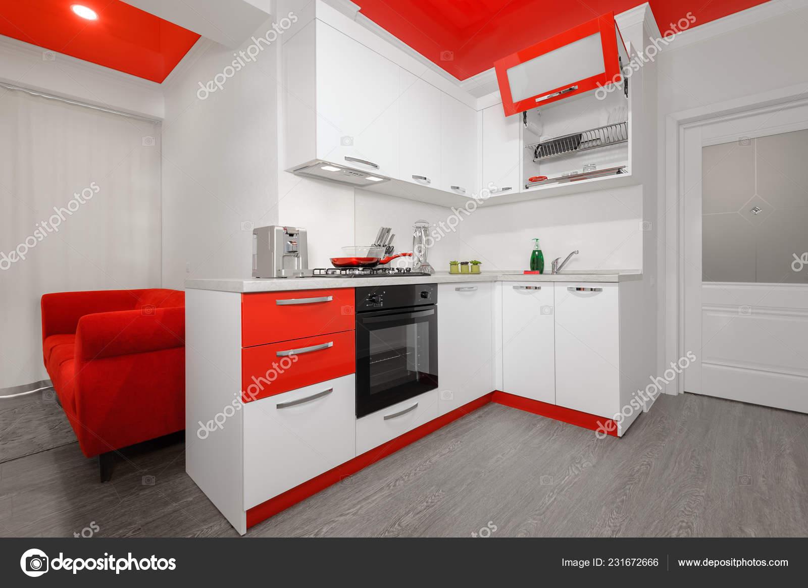 Modern red and white kitchen interior 9