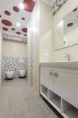 Photo Bathroom interior, locker with mirror, toilet and bidet