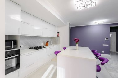 Modern white kitchen interior with purple bar chairs, minimalistic clean design stock vector