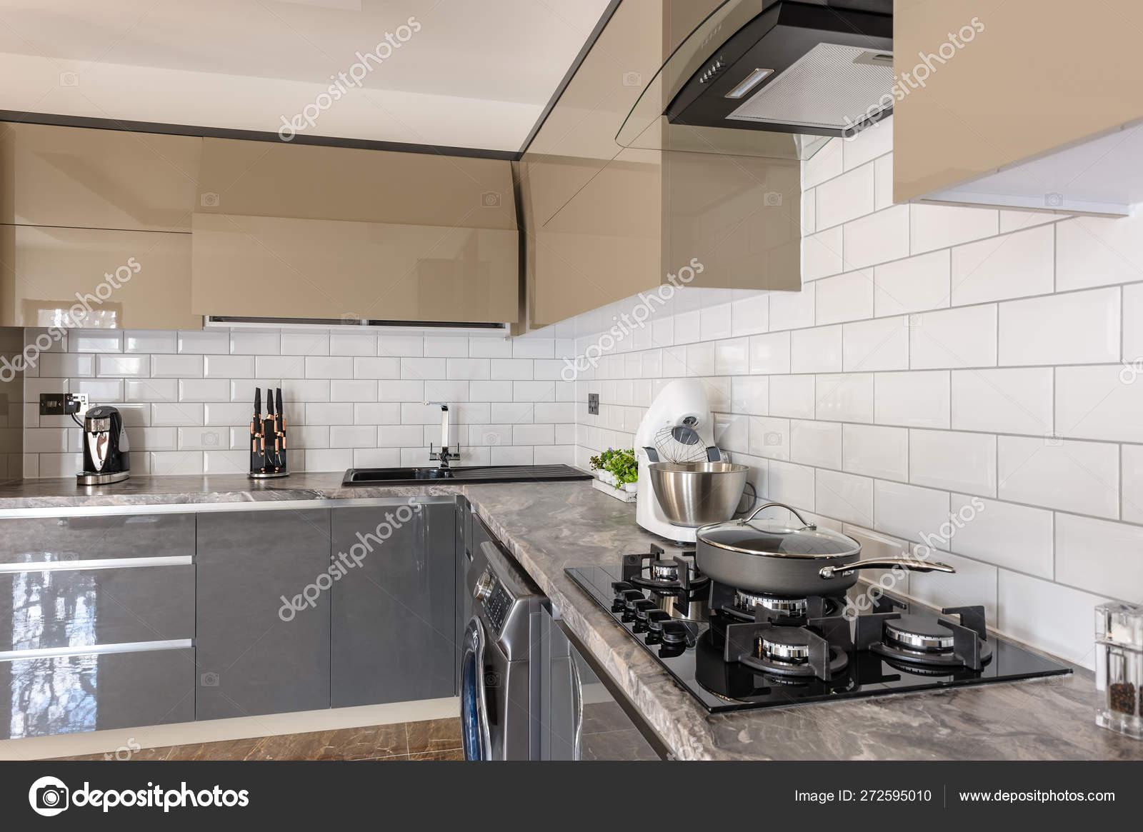 Closeup Of Luxury Modern White Beige And Grey Kitchen Interior Stock Photo Image By C Starush 272595010