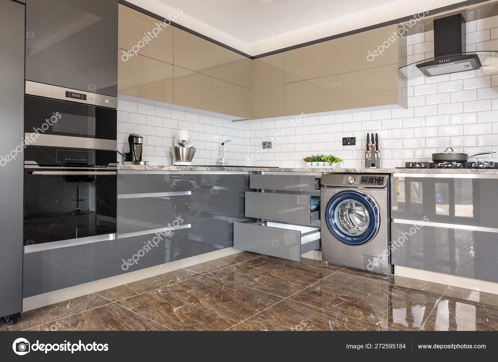 Interieur De Cuisine Moderne De Luxe Blanc Beige Et Gris
