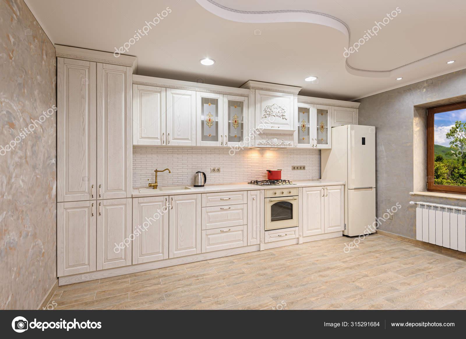 Luxury Modern White And Beige Kitchen Interior Stock Photo Image By C Starush 315291684