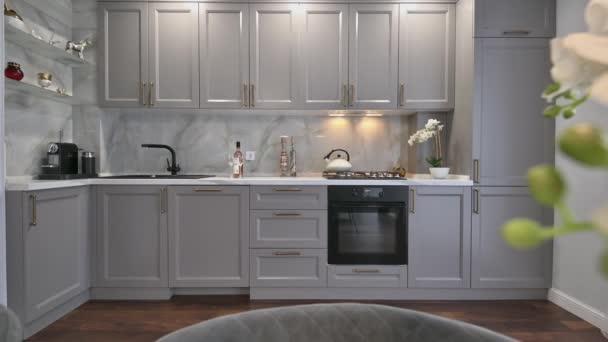 Šedá a bílá luxusní kuchyně v moderním stylu